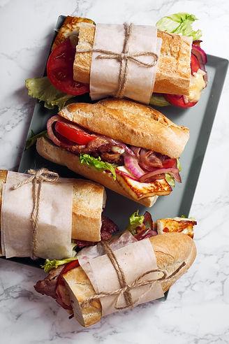 Fresh baguette sandwich bahn-mi styled.