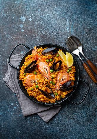 Classic dish of Spain, seafood paella in