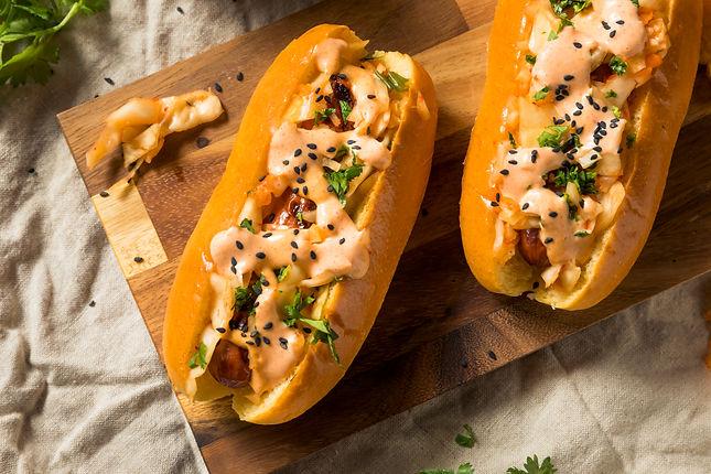 Homemade Korean Kimchi Hot Dogs with Sri