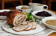 Roast Turkey Breast with Stuffing, Gravy, Apple Sauce, Braised Red Cabbage, Cranberry Sauc