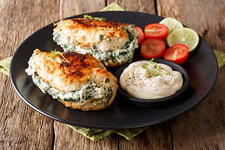 Baked chicken breast stuffed with cheese