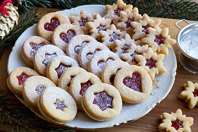 Linzer Christmas cookies filled with str