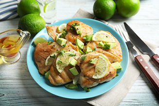 Plate of delicious tequila lime chicken