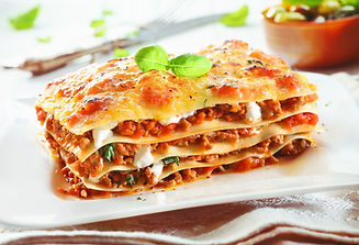 Close-up of a traditional lasagna made w