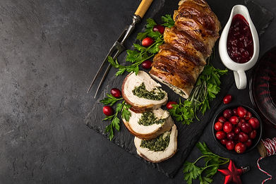 bacon wrapped turkey breast stuffed with