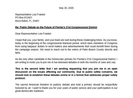 Second Call for Rep. Frankel to Debate