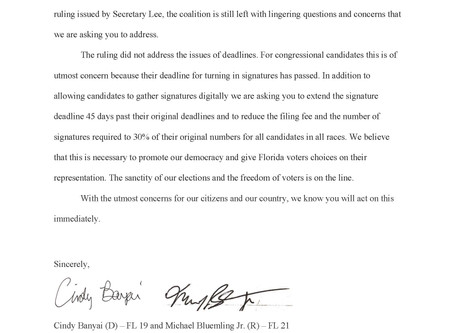 Primary Challenger to Lois Frankel & 45 Candidates Write Gov. DeSantis on Ballot Requirements