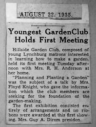 Newspaper Clipping from 1935 regarding Club establish