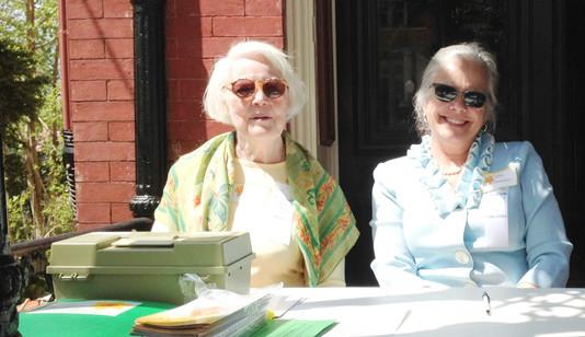 Members of the Hillside Garden Club welcoming Garden Day Visitors