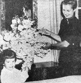 Newspaper Clipping of Hillside Garden Club Member in the 50's opening her home to the public