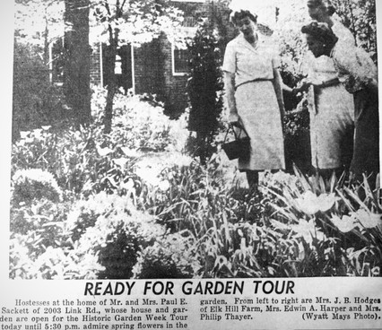 Newspaper Clipping of one of the early Historic Garden Week Garden Tours