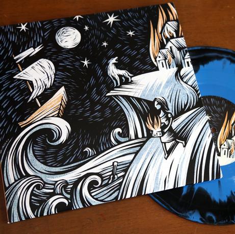 Vinyl Record Cover Illustration