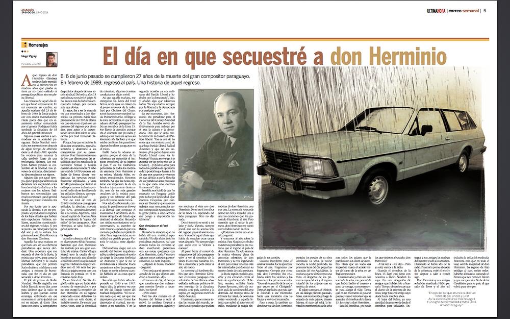 Reproducción de la publicación del Correo Semanal, del diario Última Hora.