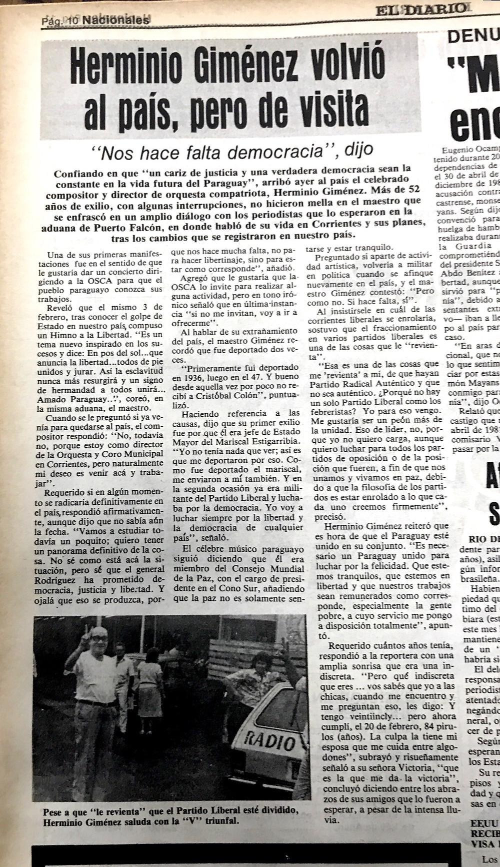 Facsímil de la publicación del diario Noticias de aquella cobertura. Al costado se ve la parte trasera del Belina
