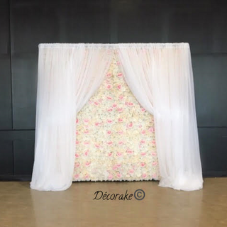 Silk Flower Wall with Drapes