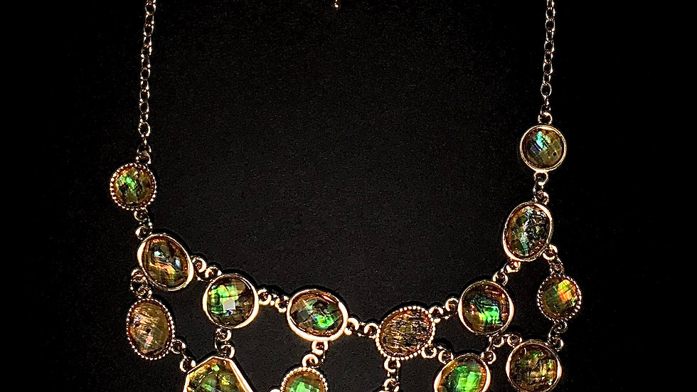 Layered Green and Gold Statement Necklace