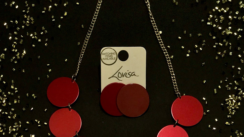 Lovisa® Maroon Disc Statement Necklace and Earrings