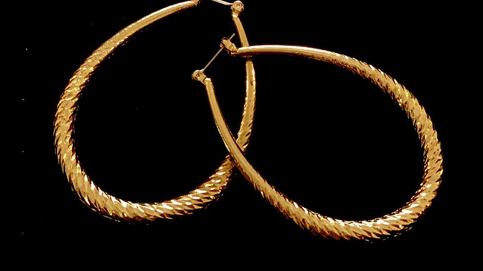 Textured Golden Oval Earrings