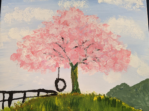 Pink Tree withTire Swing
