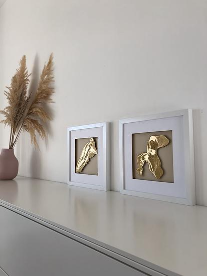 """Abstrakt """"Golden Caramel"""" 2er Serie"""