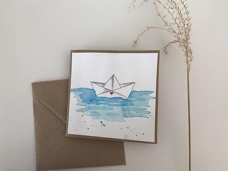 Faltkarte Papierschiff