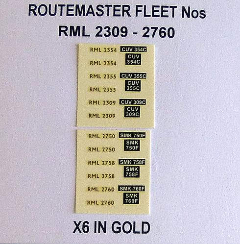 Gold RML 2309, 2354, 2355, 2750, 2758, 2760