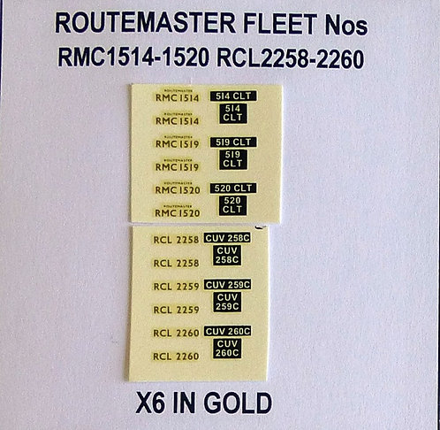 Gold RMC 1514, 1519, 1520, RCL 2258, 2259, 2260