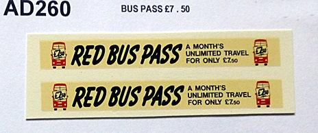 Bus Pass £7.50