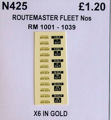 Gold RM 1001, 1009, 1011, 1019, 1023, 1039