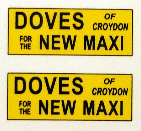 DOVES MAXI REAR ADVERTS