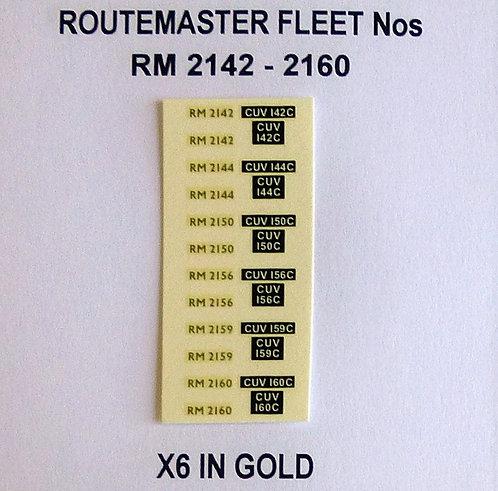 Gold RM 2142, 2144, 2150, 2156, 2159, 2160