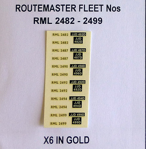 Gold RML 2482, 2487, 2490, 2492, 2494, 2499
