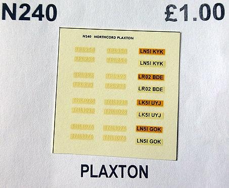 White CMNL Plaxton D/D TPL254, TPL293, TNL1028, TNL1076.