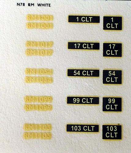 White RM1001, RM1017, RM1054, RM1099, RM1103