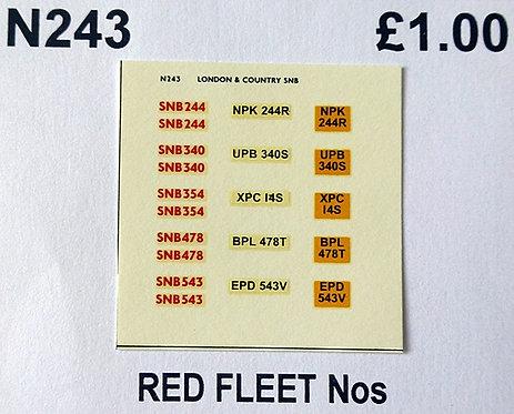 Red SNB244, 340, 354, 478, 543