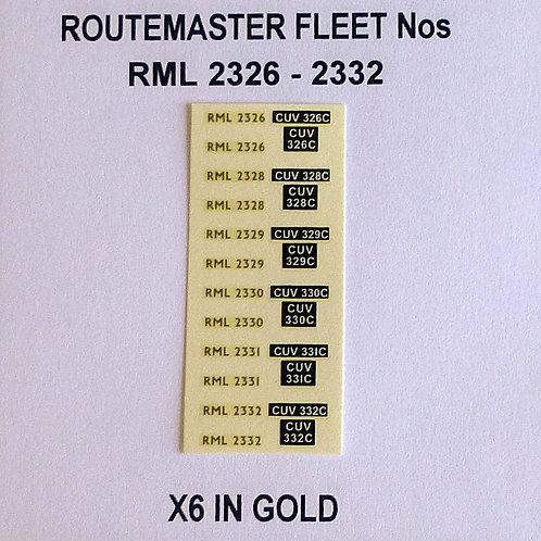 Gold RML 2326, 2328, 2329, 2330, 2331, 2332