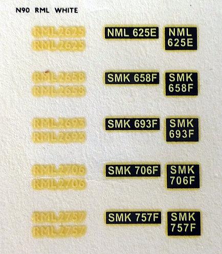White RML2625, RML2658, RML2693, RML2706, RML2557