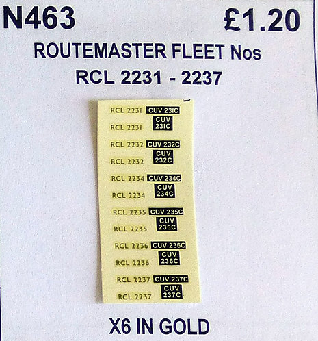 Gold RCL 2231, 2232, 2234, 2235, 2236, 2237