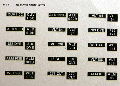 EFE Number Plates Set 1