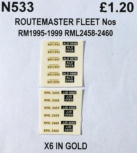 Gold RM 1995, 1997, 1999, RML 2458, 2459, 2460
