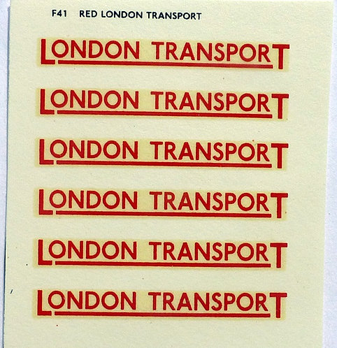 Fleet Names  London Transport Red
