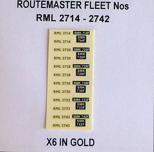 Gold RML 2714. 2720, 2728, 2730, 2733, 2742