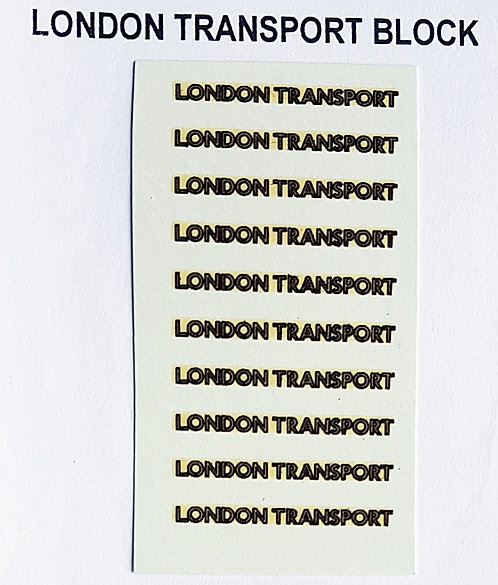 Fleet Names  London Transport Block