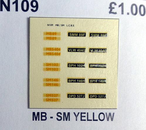 Yellow MB89, MBS404, SM102, SM146, SM527