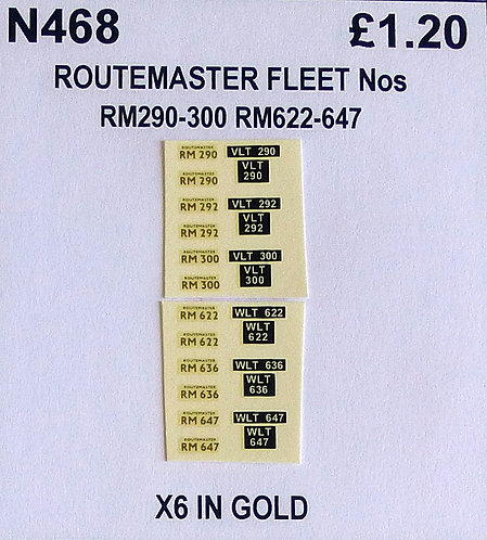 Gold RM 290, 292, 300, 622, 636, 647