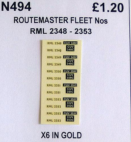 Gold RML 2348, 2329, 2350, 2351, 2352, 2353