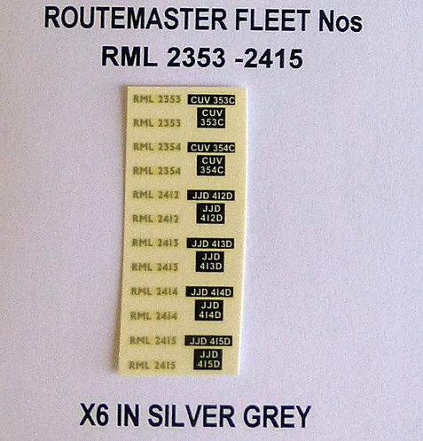 Silver RML 2353, 2354, 2412, 2413, 2414, 2415