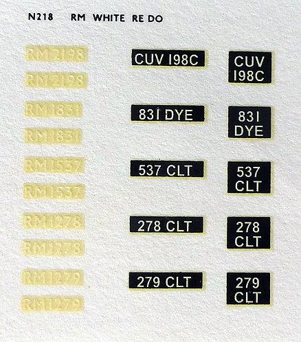 White RM278, RM1279, RM1537, RM1831, RM2198