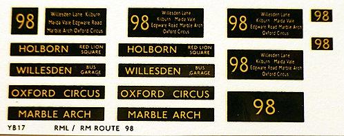 Modern RM/RML  Route 98