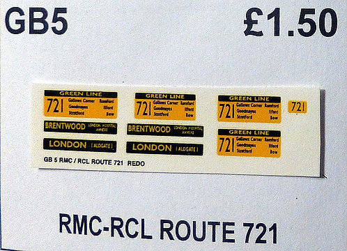RMC/RCL Green Line Blinds Route 721